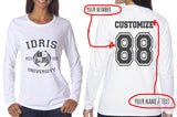 Idris University Custom Back Name and Number Long sleeve T-shirt for Women WHITE