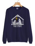 Christmas Nativity True Story Unisex Crewneck Sweatshirt Adult