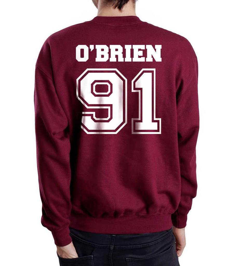 O`Brien 91 White Ink On Back Dylan Obrien Unisex Crewneck Sweatshirt - Meh. Geek