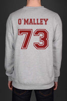 O`Malley 73 Maroon Ink on Back Greys Anatomy Unisex Crewneck Sweatshirt - Meh. Geek