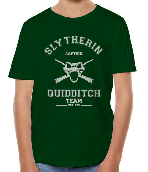 Slytherin CAPTAIN Quidditch Team Kid / Youth T-shirt tee Forest PA Old