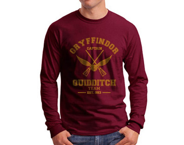 Gryffindor CAPTAIN Quidditch Team Long Sleeve T-shirt for Men PA old