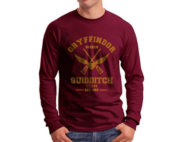 Gryffindor SEEKER Quidditch Team Long Sleeve T-shirt for Men PA old