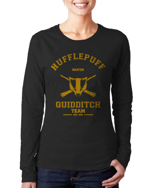 Hufflepuff BEATER Quidditch Team Long sleeve T-shirt for Women PA old
