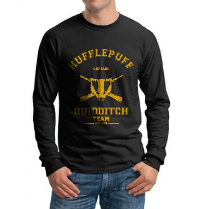 Hufflepuff CAPTAIN Quidditch Team Long Sleeve T-shirt for Men PA old