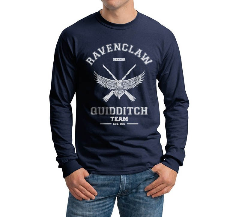 Ravenclaw SEEKER White Ink Quidditch Team Long Sleeve T-shirt for Men PA old