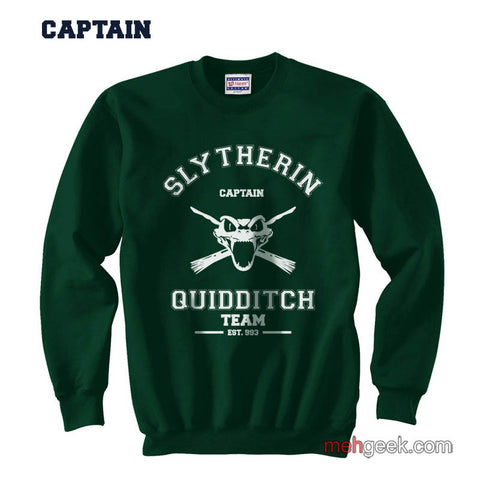PA Slytherin CAPTAIN Quidditch Team Unisex Crewneck Sweatshirt - Meh. Geek
