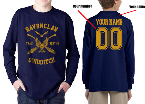 Customize - New Ravenclaw BEATER Quidditch Team Yellow Kid / Youth Long Sleeves T-shirt tee
