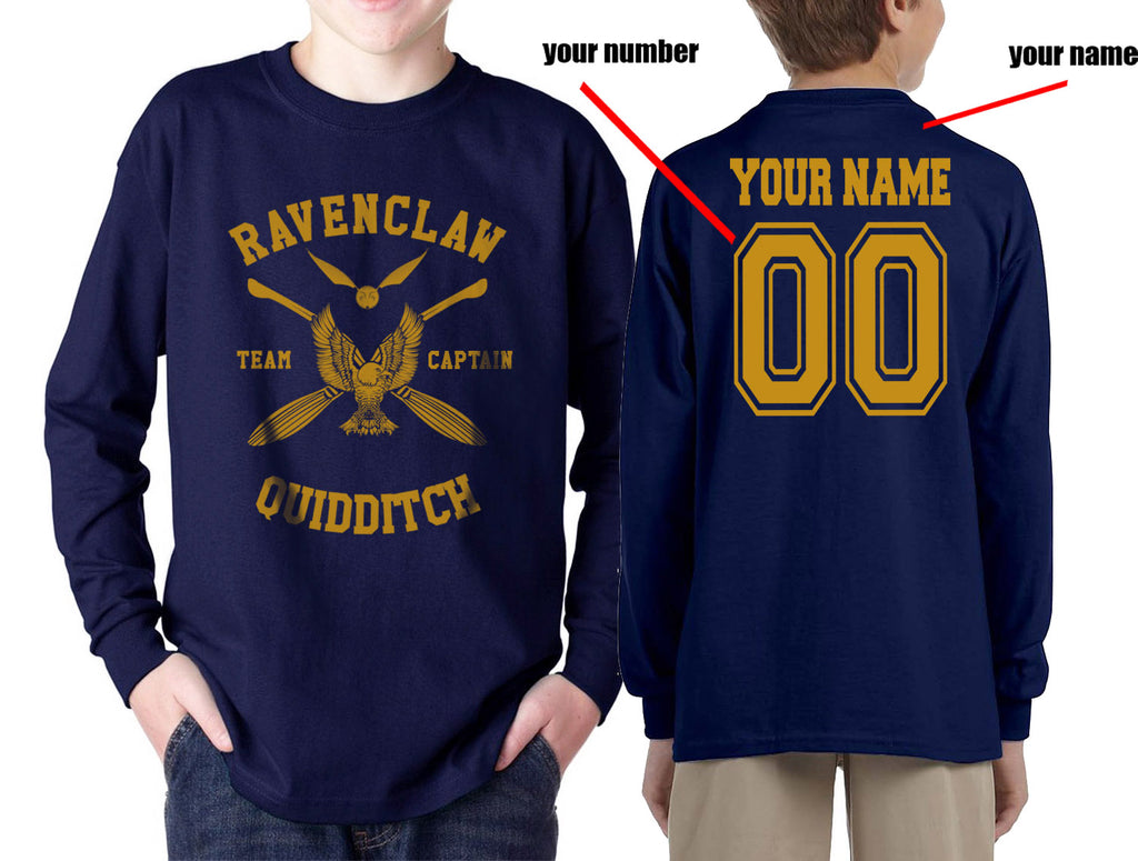 Customize - New Ravenclaw CAPTAIN Quidditch Team Yellow Kid / Youth Long Sleeves T-shirt tee