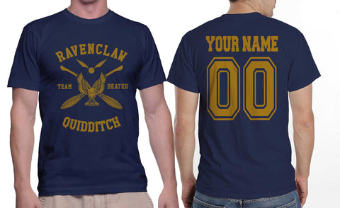 Customize - New Ravenclaw BEATER Quidditch Team Yellow ink Men T-shirt tee Navy