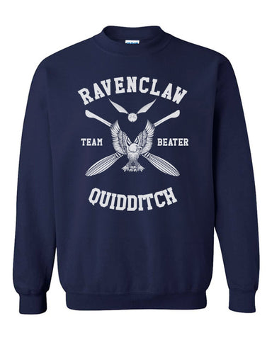 Ravenclaw BEATER White Quidditch Team Unisex Crewneck Sweatshirt PA New Adult