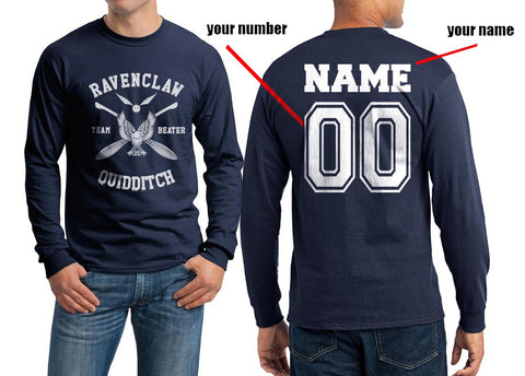 Customize - New Ravenclaw BEATER White Ink Quidditch Team Long Sleeve T-shirt for Men PA