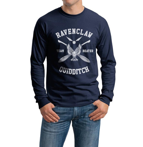Ravenclaw BEATER White Ink Quidditch Team Long Sleeve T-shirt for Men PA New