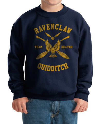 Ravenclaw BEATER Quidditch team Yellow Kid / Youth Crewneck Sweatshirt PA New