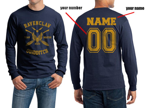 Customize - New Ravenclaw BEATER Yellow Ink Quidditch Team Long Sleeve T-shirt for Men PA