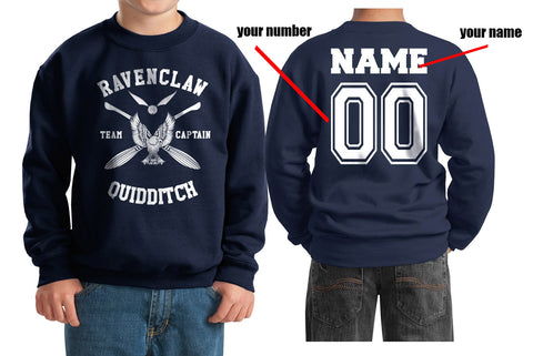 Customize - New Ravenclaw CAPTAIN Quidditch Team W ink Kid / Youth Crewneck Sweatshirt