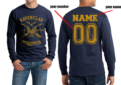 4645e3c1 Customize - New Ravenclaw CAPTAIN Yellow Ink Quidditch Team Long Sleeve  T-shirt for Men