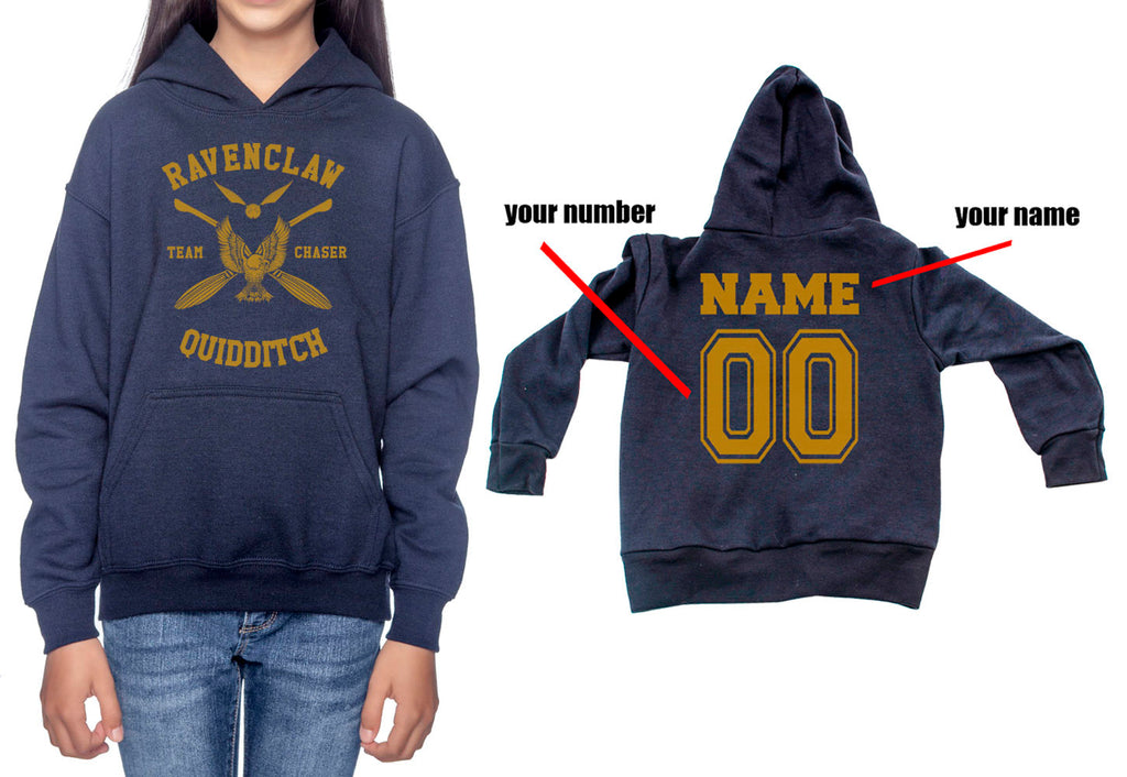 Customize - New Ravenclaw CHASER Quidditch Yellow Team Kid / Youth Hoodie Navy