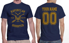 Customize - New Ravenclaw KEEPER Quidditch Team Yellow ink Men T-shirt tee Navy