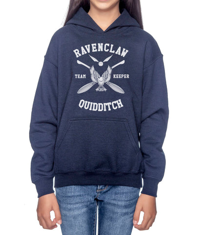 Ravenclaw KEEPER Quidditch White Team Kid / Youth Hoodie Navy PA New
