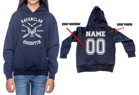 Customize - New Ravenclaw KEEPER Quidditch White ink Team Kid / Youth Hoodie Navy