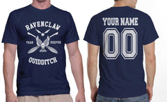 Customize - New Ravenclaw KEEPER Quidditch Team White ink Men T-shirt tee Navy