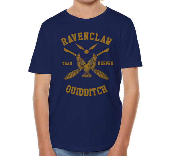 Ravenclaw KEEPER Quidditch Team Yellow ink Kid / Youth T-shirt tee PA New