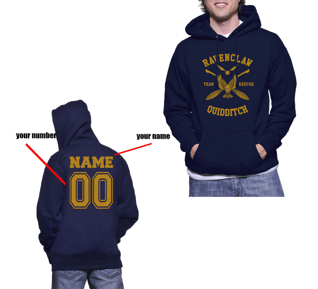 Customize - New Ravenclaw KEEPER Quidditch Team Unisex Adult Pullover Hoodie Navy