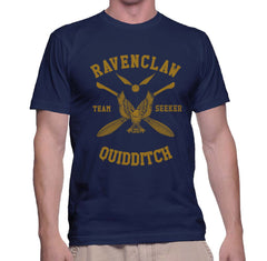 Customize - New Ravenclaw SEEKER Quidditch Team Yellow ink Men T-shirt tee Navy