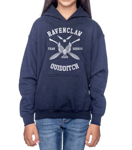 Ravenclaw SEEKER Quidditch White Team Kid / Youth Hoodie Navy PA New