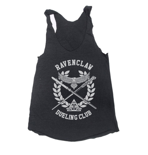 Ravenclaw Dueling Club Bw Ink Triblend Racerback Women Tank Top