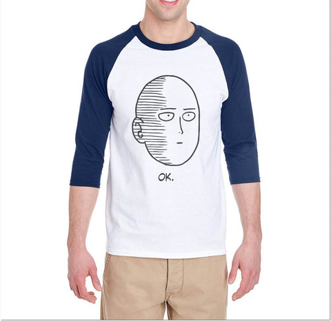 Saitama Face OPM One Punch Man Unisex 3/4 Raglan Tee - Meh. Geek - 1