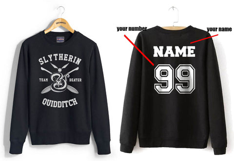 Customize - New Slytherin BEATER Quidditch Team Unisex Crewneck Sweatshirt Black (Adult)