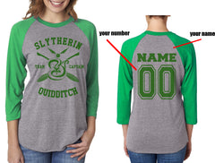 Customize - New Slytherin CAPTAIN Quidditch Team Unisex Baseball Raglan 3/4 Sleeve NL6051