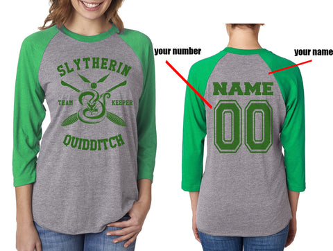 Customize - New Slytherin KEEPER Quidditch Team Unisex Baseball Raglan 3/4 Sleeve NL6051
