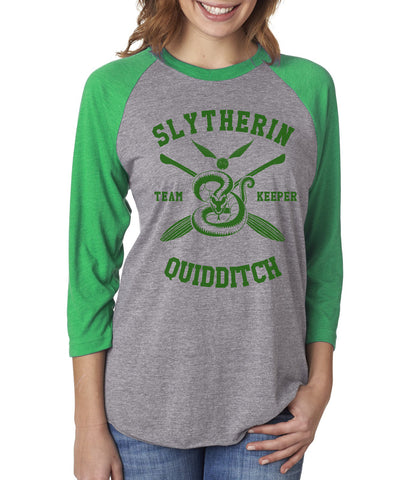 Slytherin KEEPER Quidditch Team Unisex Baseball Raglan 3/4 Sleeve NL6051 PA New