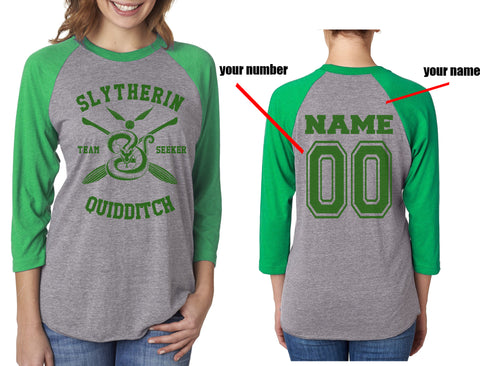 Customize - New Slytherin SEEKER Quidditch Team Unisex Baseball Raglan 3/4 Sleeve NL6051