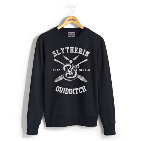 Slytherin SEEKER Quidditch Team Unisex Crewneck Sweatshirt PA New Black Adult