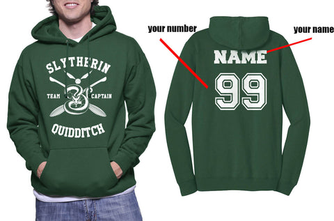 Customize - New Slytherin CAPTAIN Quidditch Team Unisex Pullover Hoodie