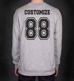 University Custom Back Name and Number Crewneck Sweatshirt LIGHT STEEL/HEATHER - Meh. Geek - 4