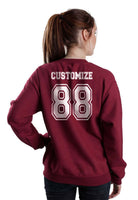 Idris University Custom Back Name and Number Crewneck Sweatshirt MAROON - Meh. Geek - 3