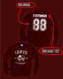 Idris University Custom Back Name and Number Crewneck Sweatshirt MAROON - Meh. Geek - 1