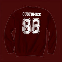 Idris University Custom Back Name and Number Crewneck Sweatshirt MAROON - Meh. Geek - 4