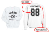 Idris University Shadowhunters Custom Back Name and Number Crewneck Sweatshirt WHITE Adult