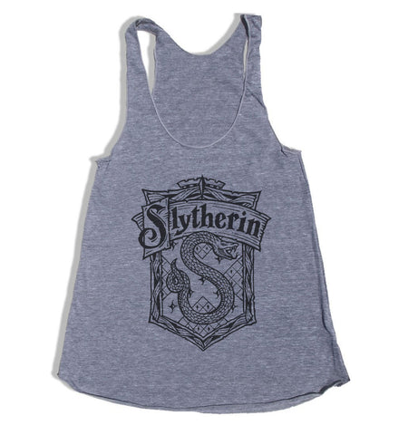 Slytherin #2 Crest Black/White print Triblend Racerback Women Tank Top PA Crest