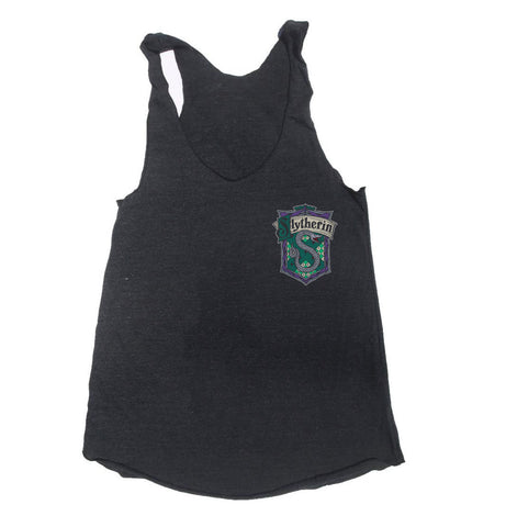 Slytherin #2 Pocket Crest Triblend Racerback Women Tank Top PA Crest