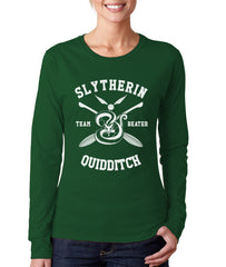 Slytherin BEATER Quidditch Team BW Ink Long sleeve T-shirt for Women PA New