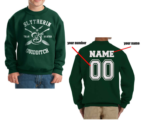 Customize - New Slytherin BEATER Quidditch Team Kid / Youth Crewneck Sweatshirt Forest