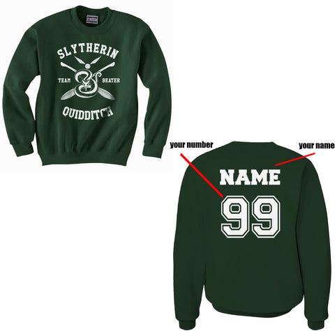 Customize - New Slytherin BEATER Quidditch Team Unisex Crewneck Sweatshirt  (Adult)
