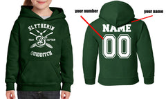 Customize - New Slytherin CAPTAIN Quidditch Yellow Team Kid / Youth Hoodie Forest Green
